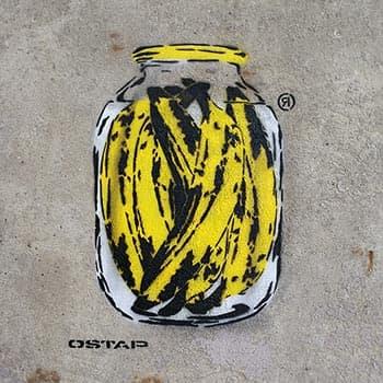 Bananen in der Glasdose- Spree Can- Stencil Street art