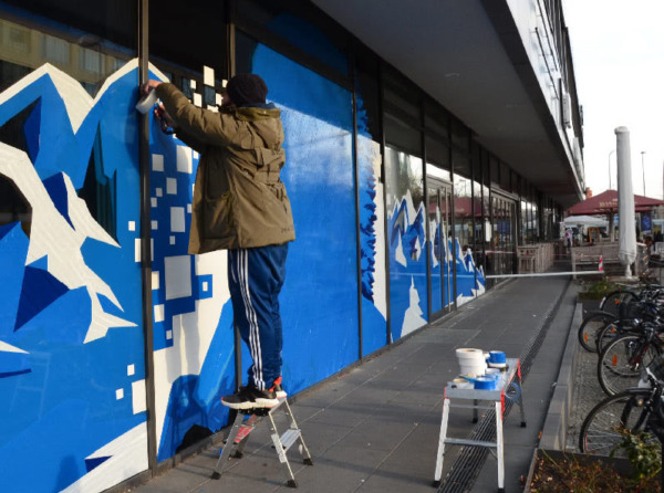 Ostap Artist at work- Tape Street Art