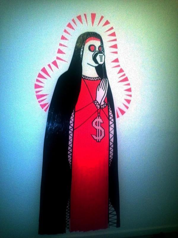 Maria- meine erste Wandmalerei mit Klebeband- Jahr 2012