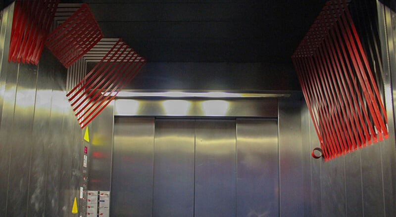 3D tape art in the office elevator- Panorama image