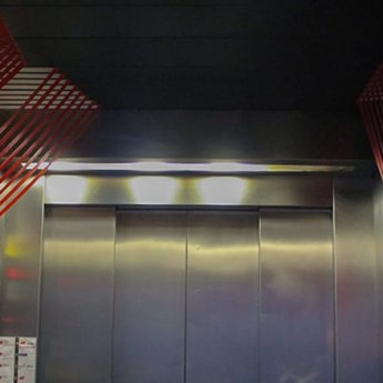 Lines- Abstract 3d duct tape installation in elevator- Panorama