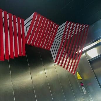 Abstraktes 3D Tape-Kunst im Fahrstuhl- Büro Design