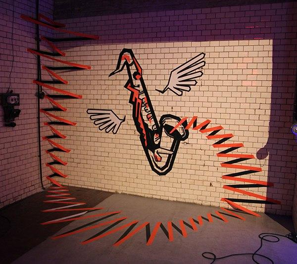 "3D Graffiti aus Klebeband - ""The Sound"""