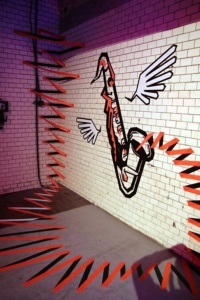 "3d tape art performance ""The Sound"""