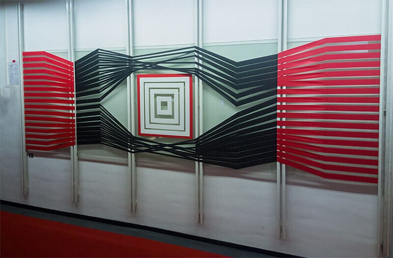 Photo of 3d tape graffiti art in the office