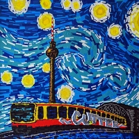 Berlin Starry Night-Van Gogh-tape-art by Ostap-2014-featured image