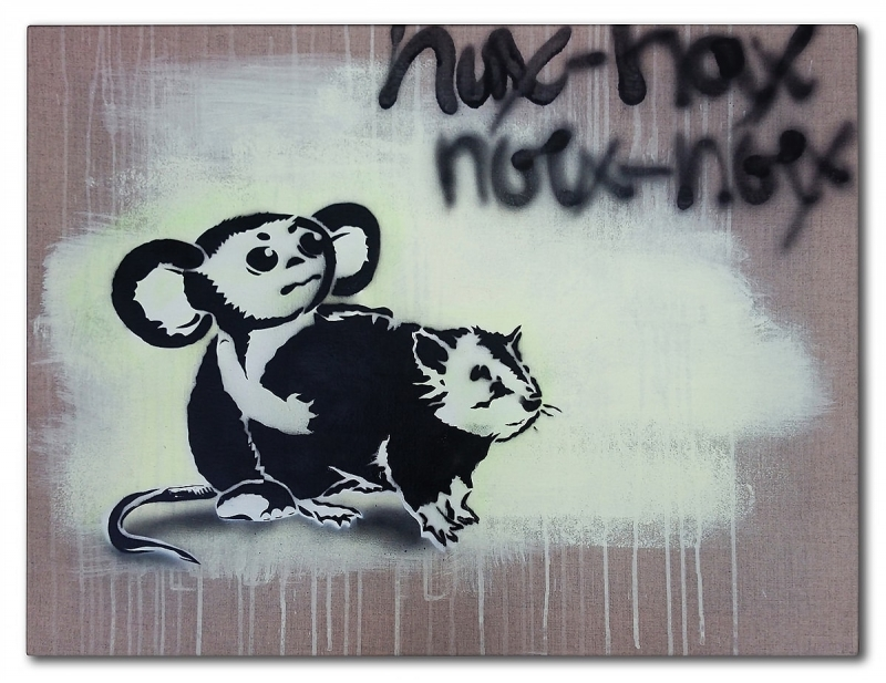 Canvas version- Cheburashka and Rat-stencil-sprayart-ostap-2015