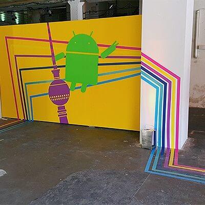 Google Playtime Event- Klebeband Wegleitung- Tape Art Selfmadecrew 2015- Beitragsbild