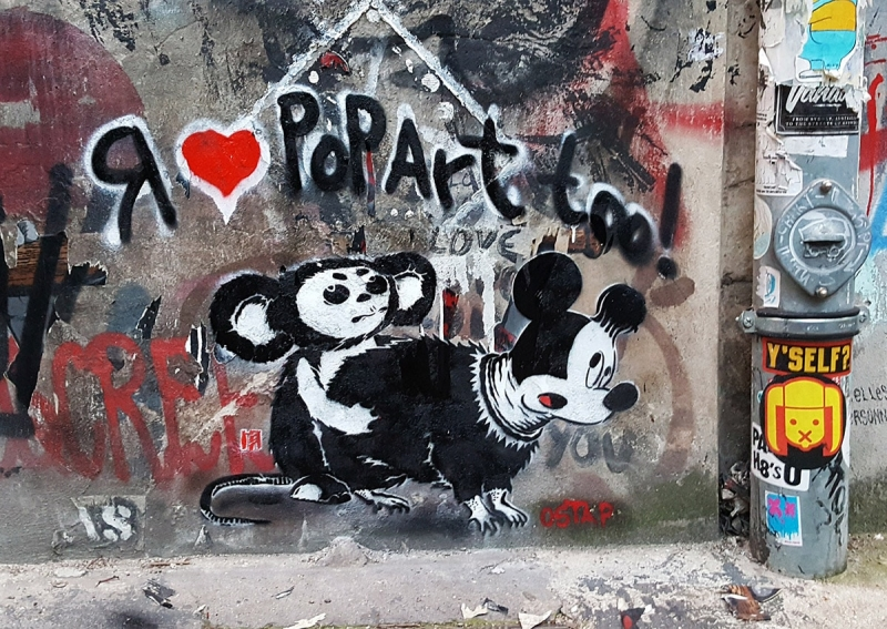 Cheburashka vs Mickey Mouse rat-stencil-street-art-by-Ostap-Berlin2016