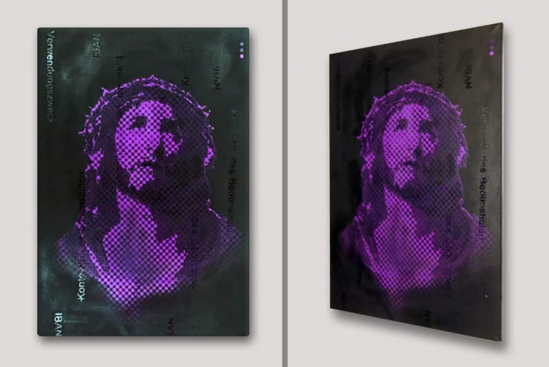 Indulgence-Jesus pop art graffiti canvas- side view