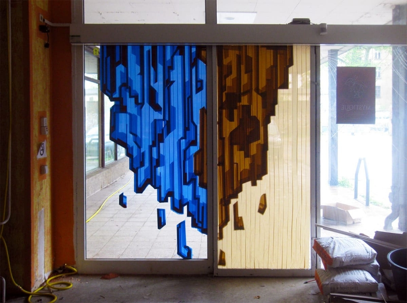 Mystique- abstract packing tape street art piece by Ostap