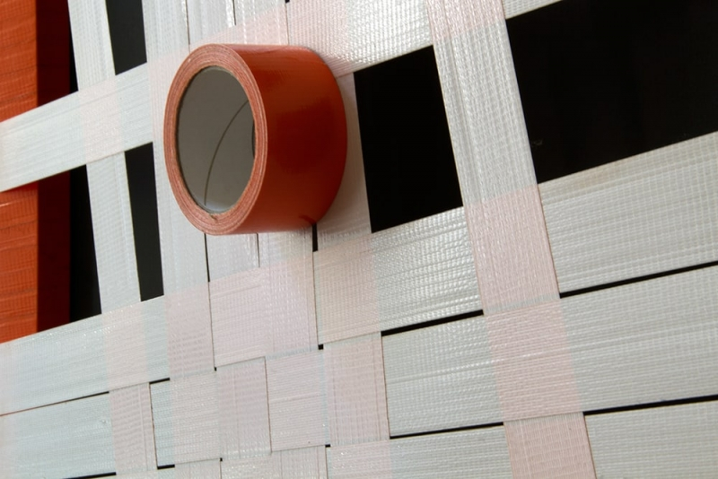 Orange -Structure 1-Abstract Woven Tape Art- close-up