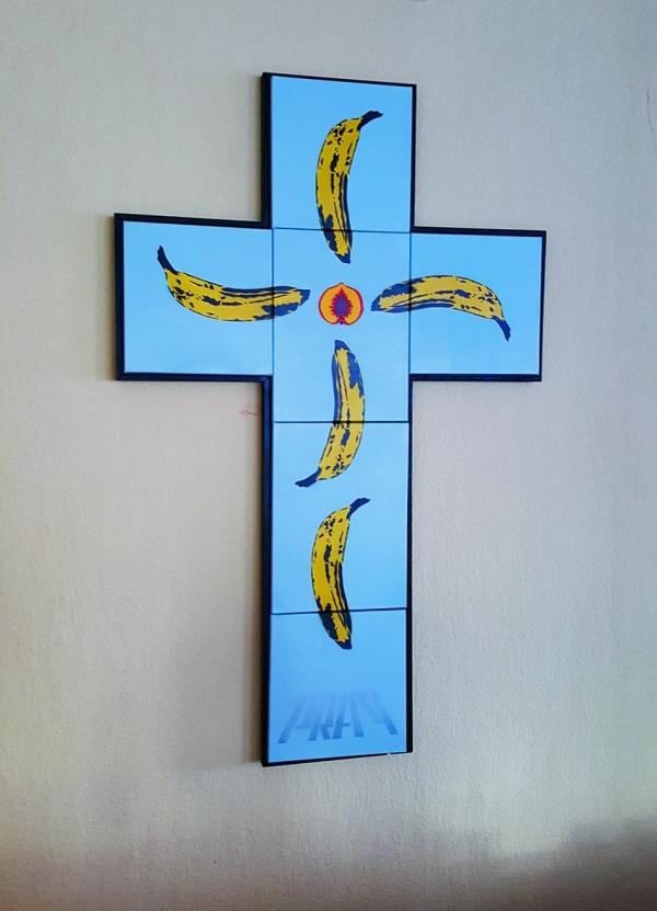 Pray-Kreuz-Stencil Pop Art Kunstwerk- Slava Ostap 2015
