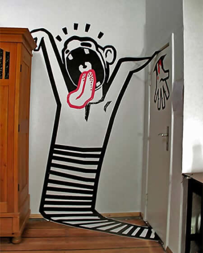 Titelbild-Scream- 3D Klebeband Graffiti- 2012 by Ostap artist-2012