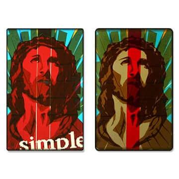 Einfach-Pop-Art-Ikone-Packband-Jesus-Portrait-Vorschaubild