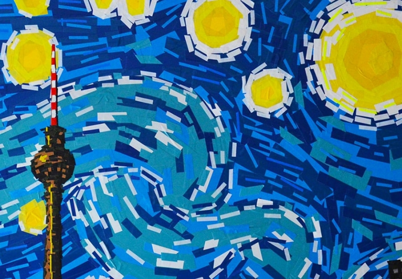 Tape-Kunst Nahaufnahme- Sternennacht-Van Gogh- Slava Ostap