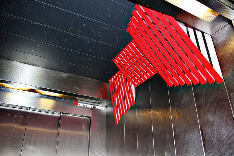 Title image of 3d tape street art in lift