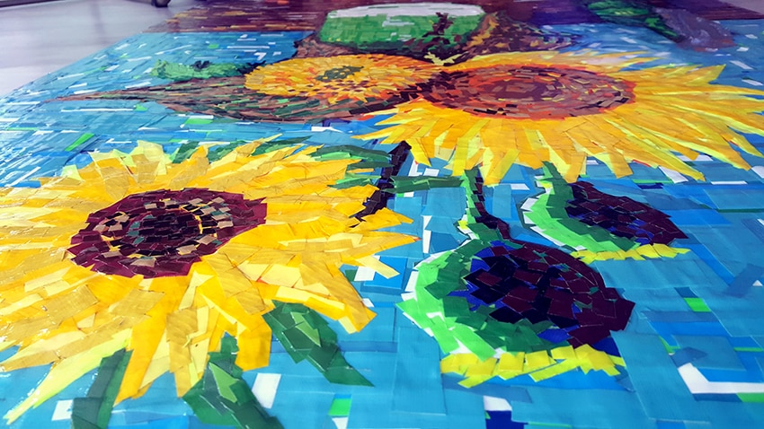 "Zoom image 1-""Sunflowers"" (feat. Van Gogh)- artwork out of duct tape by Ostap, 150x120 cm. Berlin 2015"