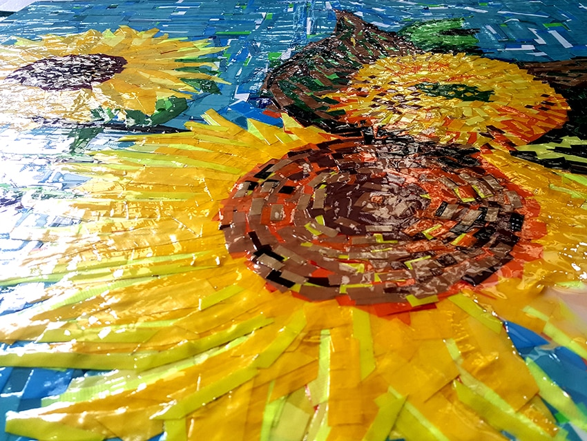 "Zoom image 1-""Sunflowers"" (feat. Van Gogh)- tape art by Ostap, 150x120 cm. Berlin 2015"