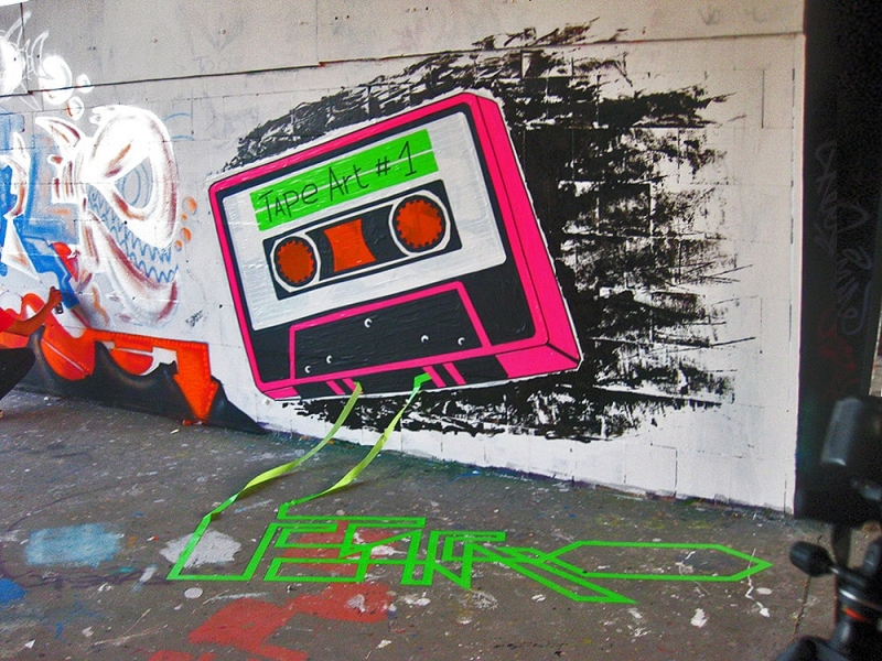 Tape Cassette-Mixed media graffiti- Ostap-street art festival-Berlin-Teufelsberg-2012