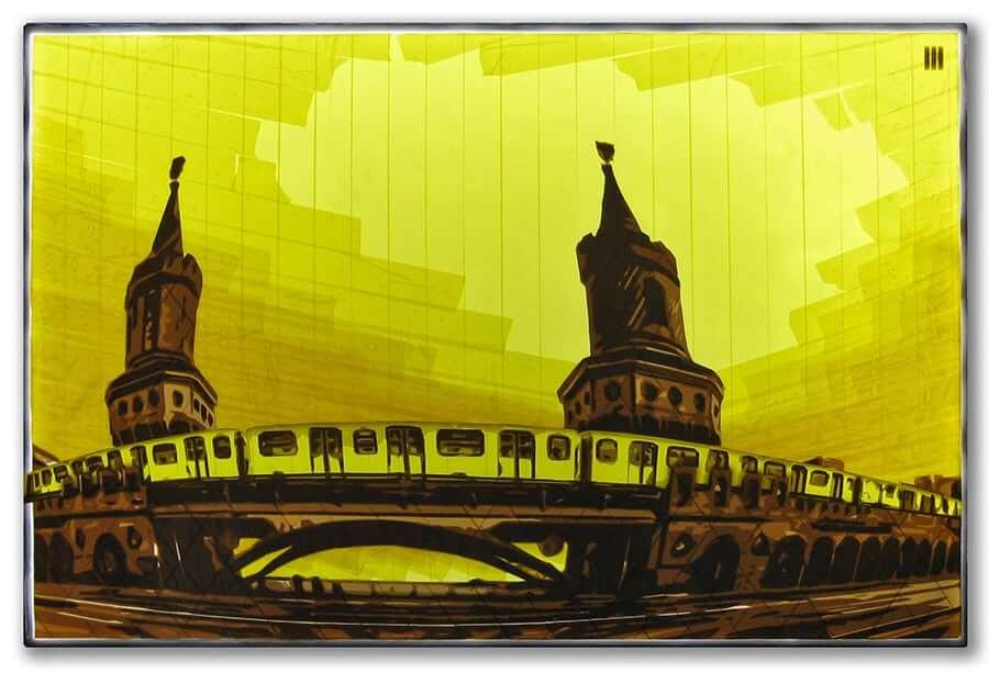 U1-Oberbaumbruecke-Berlin-packing tape art-Ostap-Artist-2015