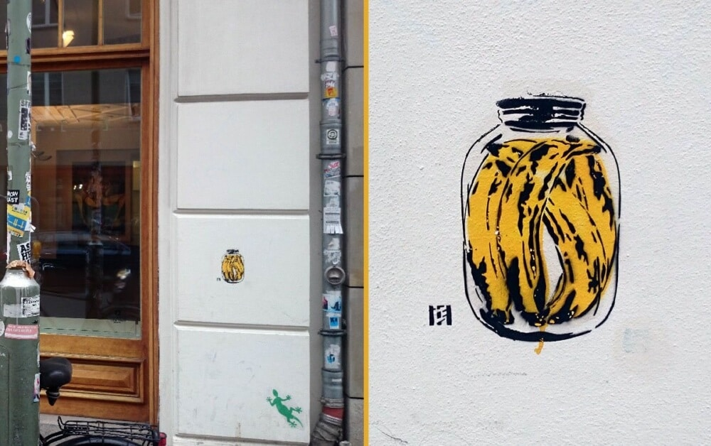 Banana can-stencil street art-Closeup