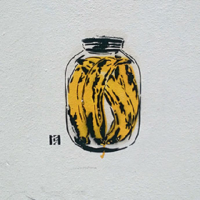 Banana can-stencil street art- Featured image