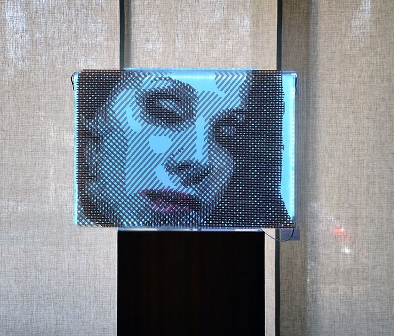FAQlove Reloaded- packing tape optical art portrait by Ostap- 2015