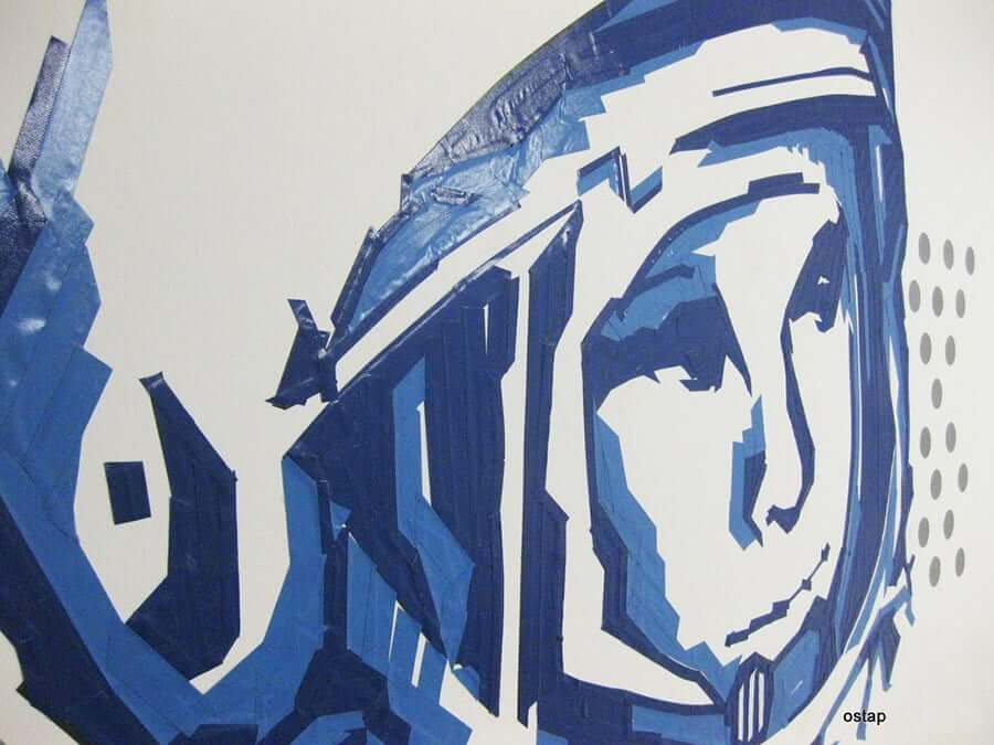 gagarin-portrait-tape-graffiti-ostap artist-2012-close up