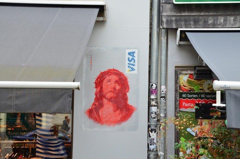 Jesus Visa Card- stencil street art by Ostap- Berlin 2014