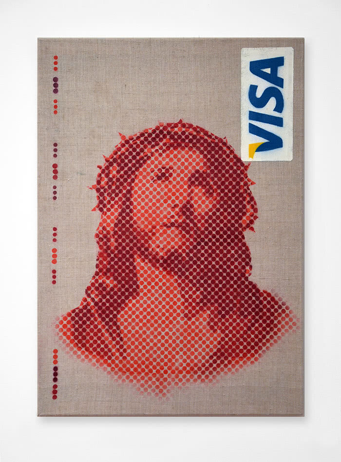 "Image of ""Icon 2.0"" - Jesus visa card spray paint by Ostap"