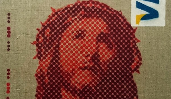 "Zoom image of ""Icon 2.0"" - Jesus visa card spray paint by Ostap"