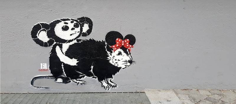 loving disney -schablonen graffiti von Ostap-Berlin 2016