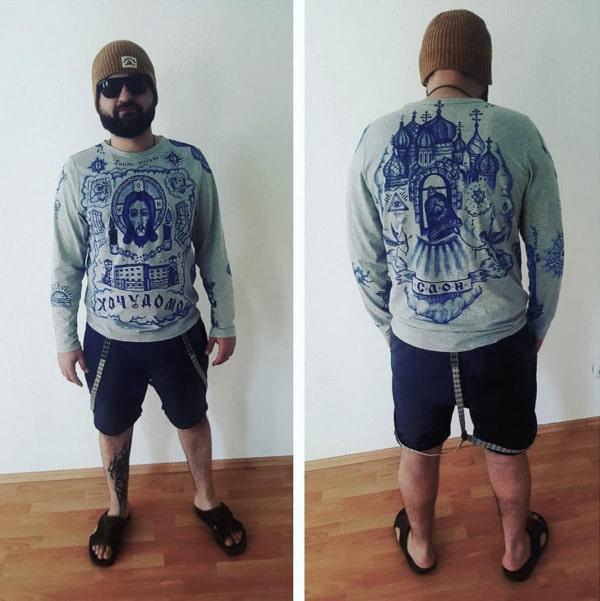 Russisches Tattoo Nakolki- Modedesign-Vorder-Rueckseite