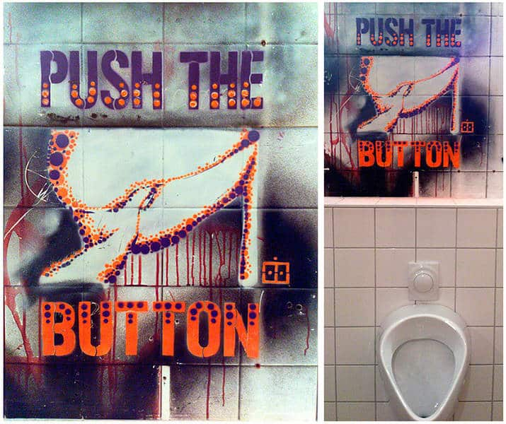 Push The Button- Schablonen Kunst in Männertoilette- Ostap Artist 2013