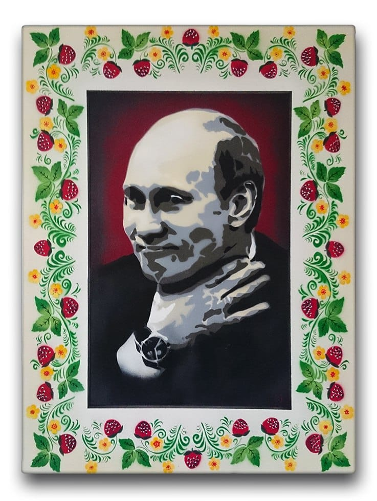 Post image 1- Putin portrait- spray paint on canvas, Ostap 2013