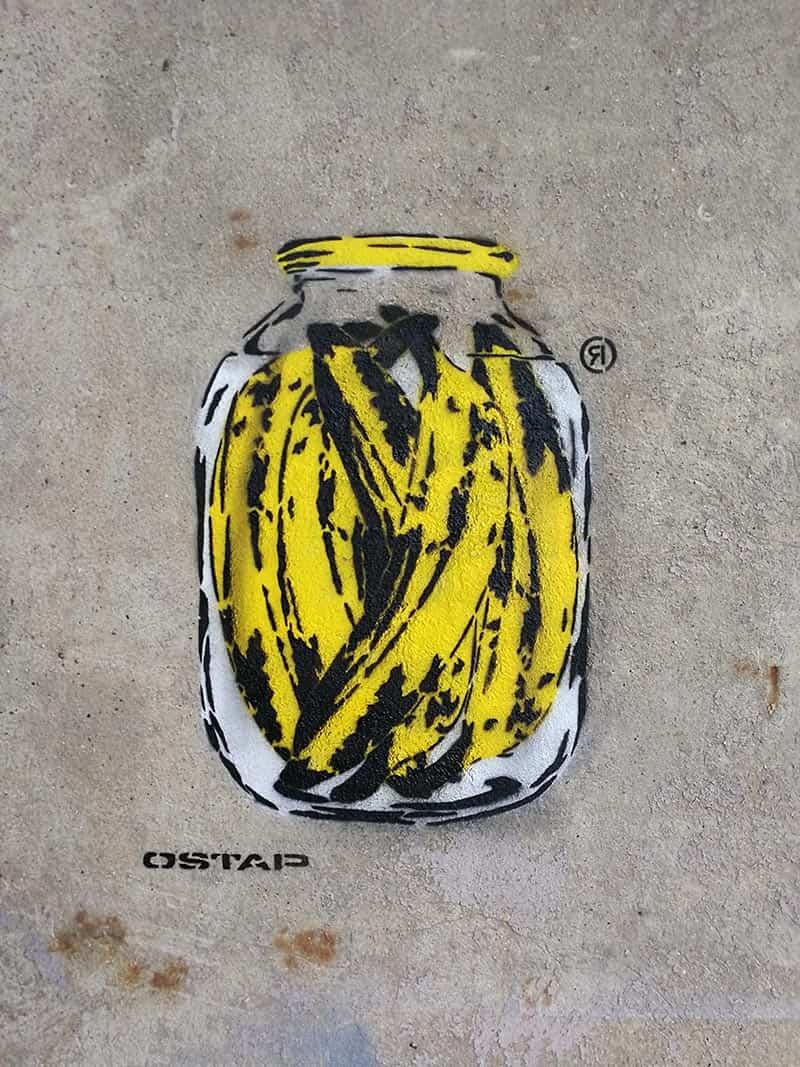 Bananen Dose- Schablonen Street-Art von Ostap Artist