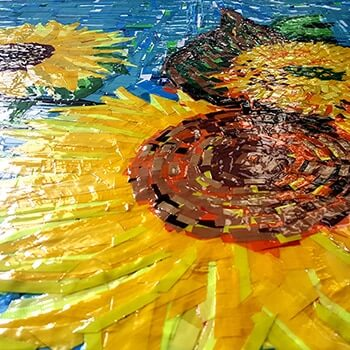 Sunflowers- ostap feat Van Gogh- tape art painting-2015
