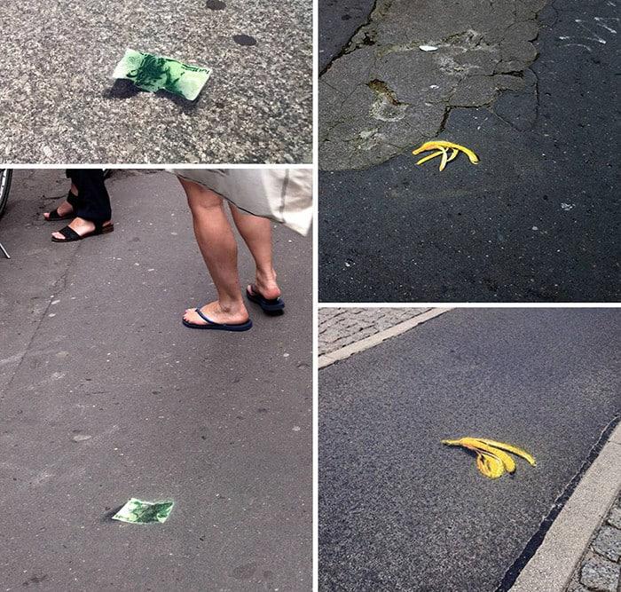 """Post Image 2- """"Fallen down"""" - money street art by Ostap"""