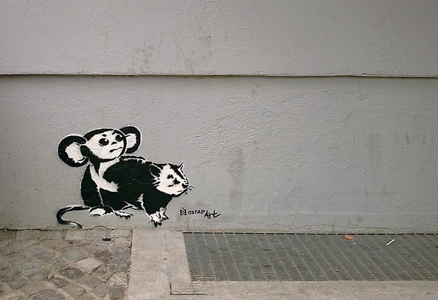 loving banksy-cheburashka vs rat- the series of stencil street art by Ostap-Berlin