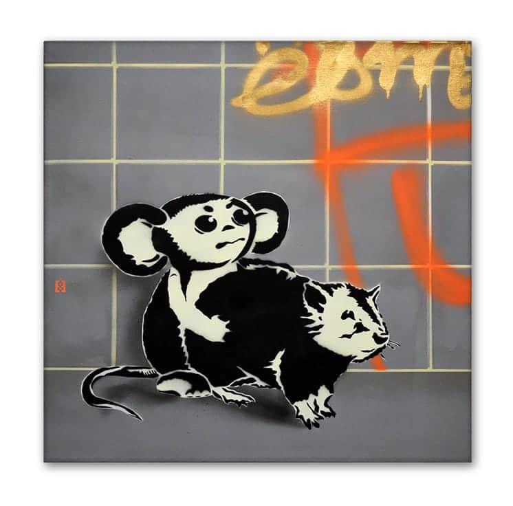 Tscheburashka vs Ratte - Spray Art Leinwand von Ostap- 2014