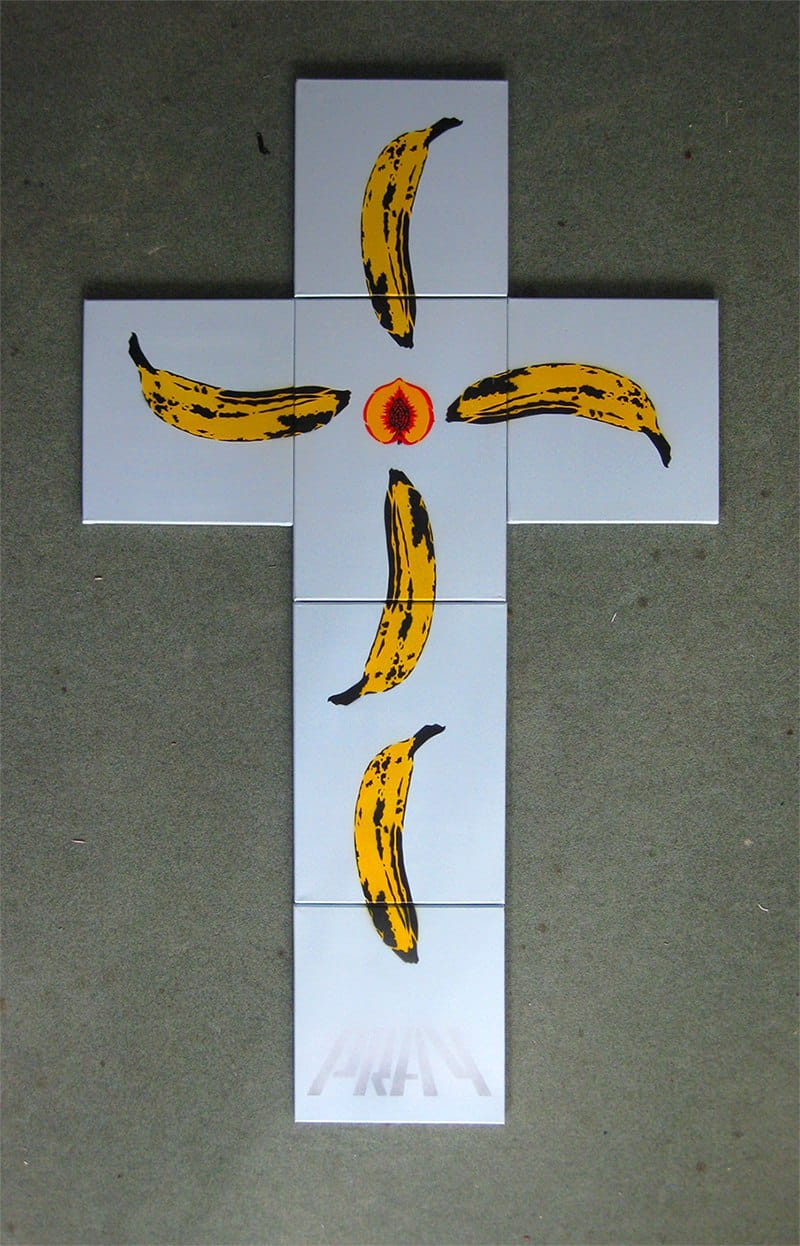 """Banana cross"" - spray paint stencil pop art"