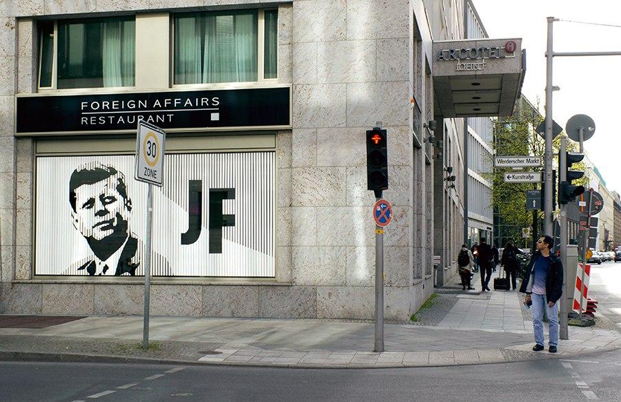 Tape Street Art in Berlin- JFK Portrait