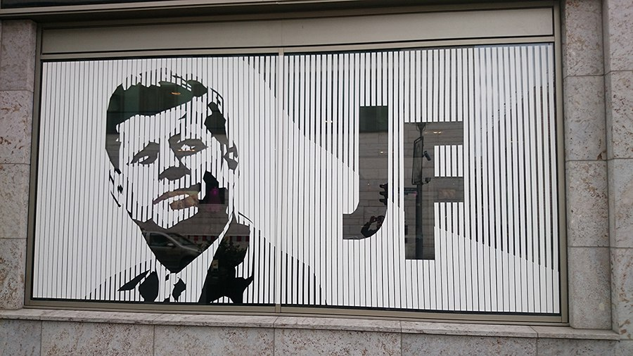 Post image 1- Portrait of John F Kennedy- tape street art by Ostap