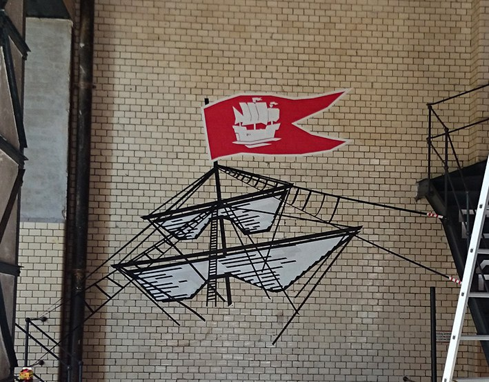 "3D tape art graffiti for ""Stoertebeker"""