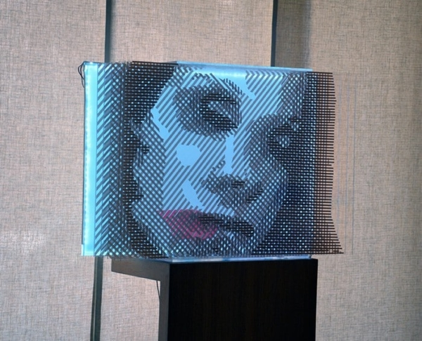 Side view- Faqlove reloaded - 3d packing tape optical art- Ostap 2015