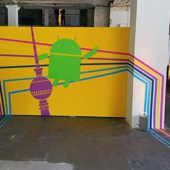 """Tape-Art Auftrag von """"Selfmade crew"""" bei der """"Google Playtime"""" Event in Berlin am 02.10.2015."""