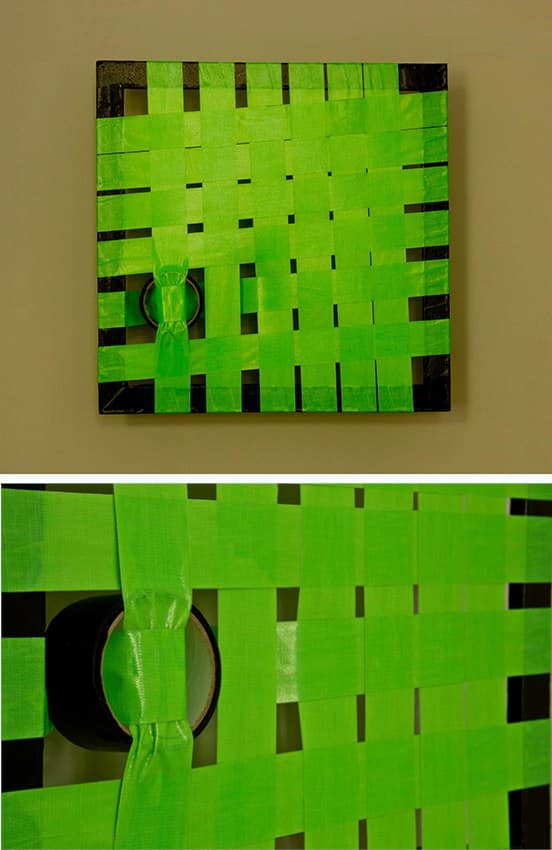 Tape-Art-construction Nr 2-Green- woven duct tape- Ostap Artist 2012