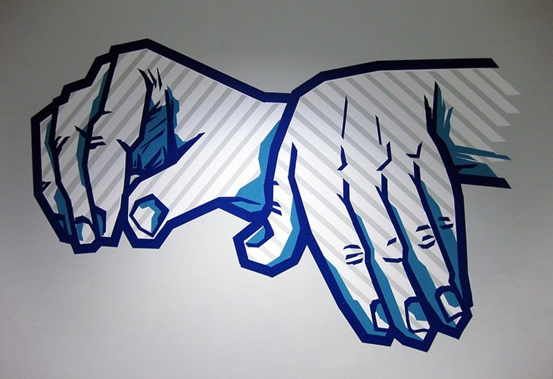 tape-graffiti-gaffa klebeband-DJ Hände-musik- auftrag-office-design-Ostap2015