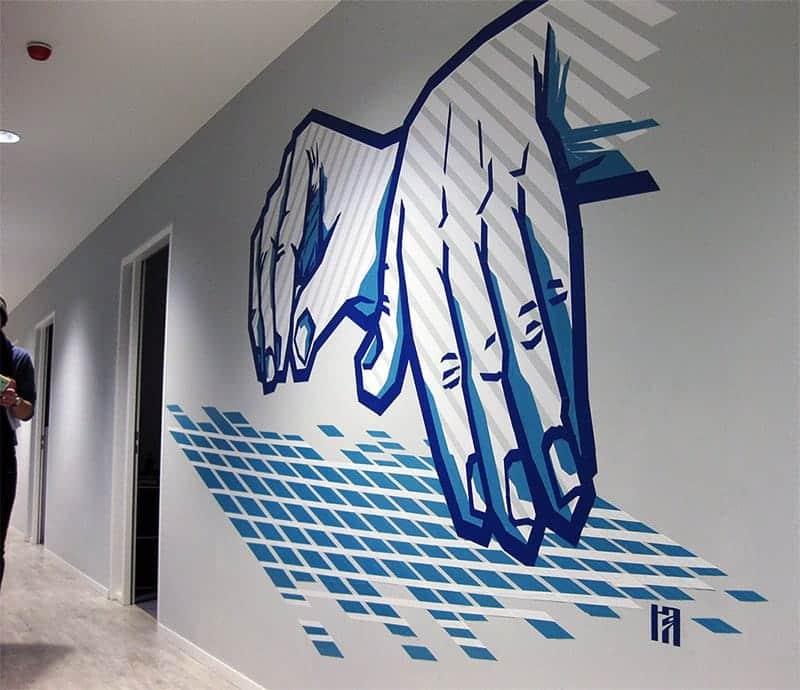 "Image of tape art graffiti- ""Music"", 2015"